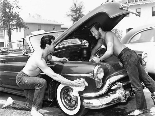 Rock Hudson with Bob Preble Working on the Car in 1952