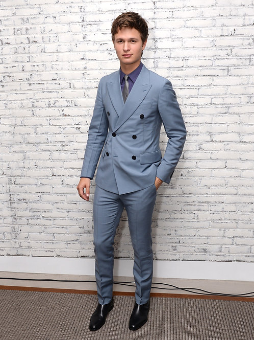 Ansel Elgort in a Light Blue Suit