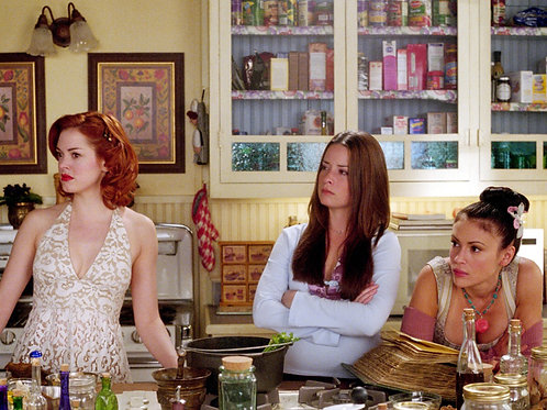 Cast of Charmed in a Behind the Scenes Shot in the Kitchen