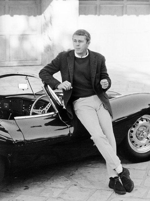 Steve McQueen Leaning on a 1957 Jaguar