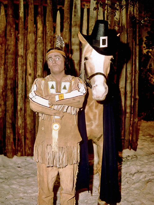 Alan Young with Mr Ed in a Thanksgiving Photo