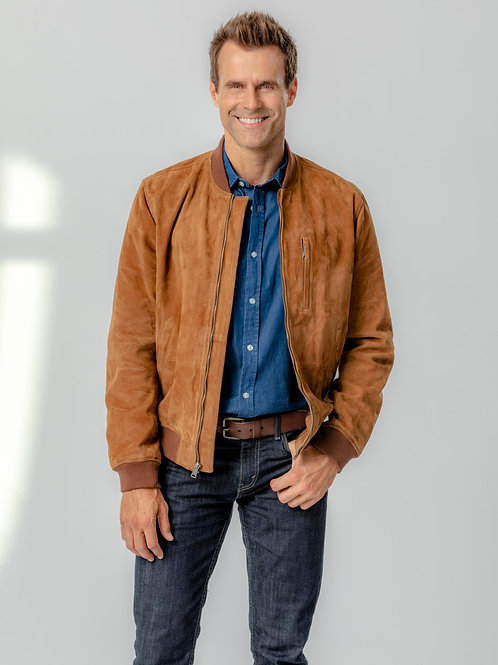 Cameron Mathison Wearing a Suede Jacket