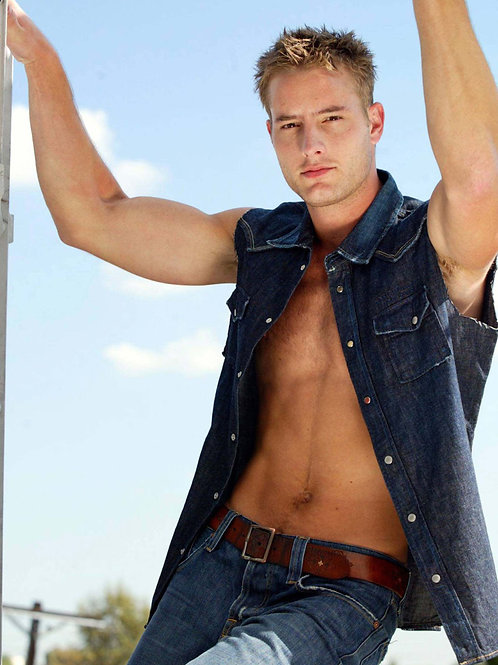 Justin Hartley with his Shirt Open