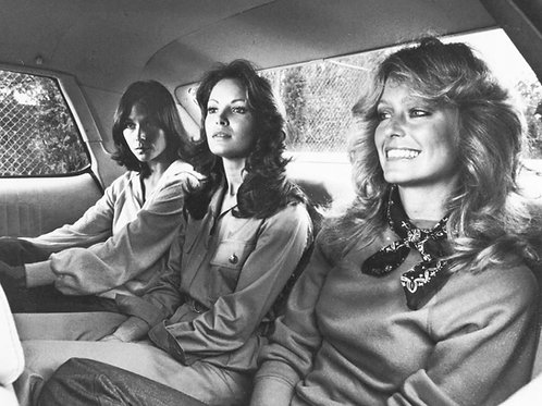 Charlie's Angels Cast Sitting in the Backseat of a Car in 1977