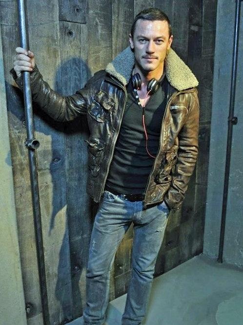 Luke Evans in a Leather Jacket & Jeans