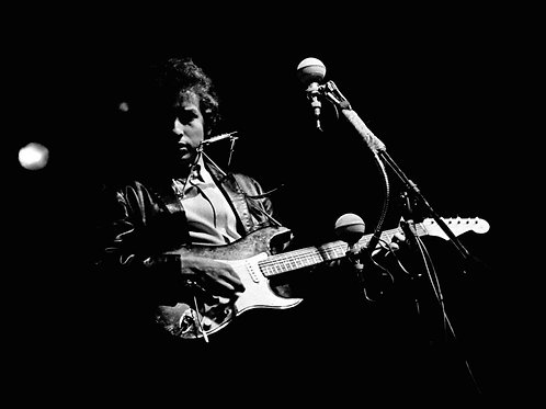 Bob Dylan Playing Guitar at the Newport Folk Festival in 1965