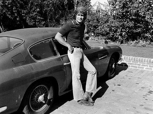 Bulging Michael Landon Beside His Aston Martin