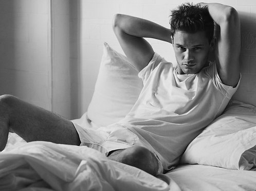 Jeremy Irvine Laying in Bed
