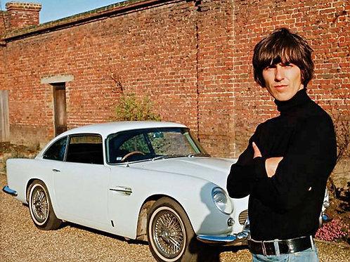 George Harrison Standing Beside his Aston Martin DB5