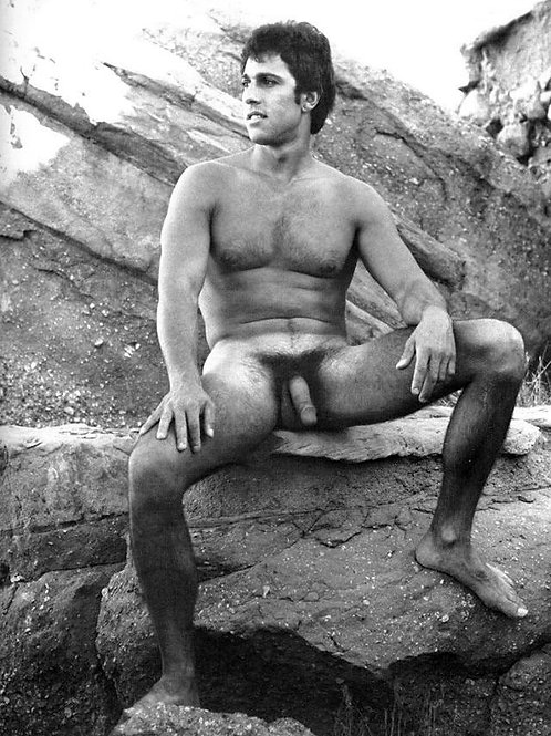 Vintage Nude on the Edge of a Rock