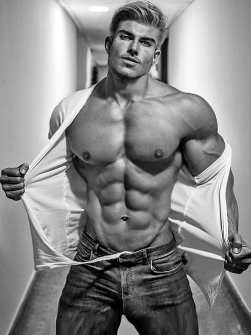 Hunk Ripping Open his White Shirt