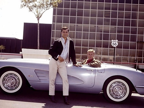 George Maharis & Martin Milner with a 50's Corvette in a Promo for Route 66
