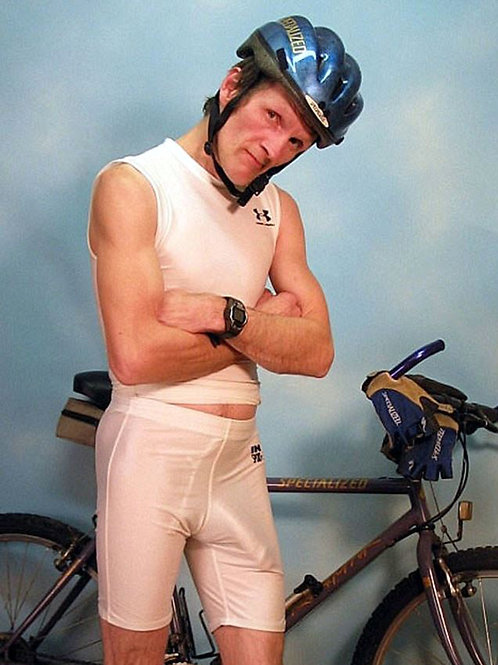 Horny Cyclist in White Bike Shorts