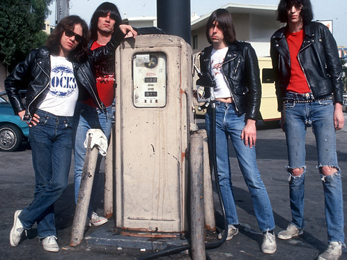 The Ramones Posing by a Fuel Pump