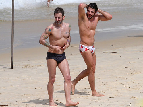Marc Jacobs & Harry Louis at the Beach in Speedos