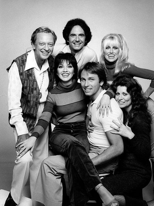 Cast of Three's Company with Don Knotts