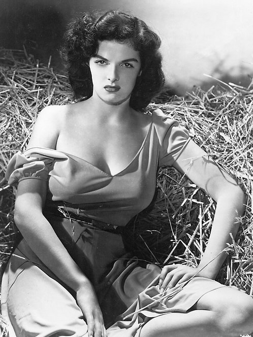 Beautiful Jane Russell Sitting on Hay in the Outlaw From 1943