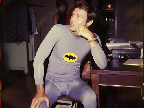 Adam West Half Dressed as Batman