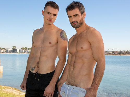 Hunks Shirtless Side by Side Outdoors