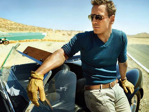 Michael Fassbender Leaning Against a Sports Car