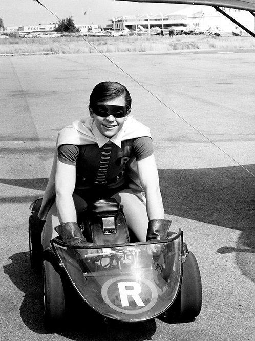 Burt Ward as Robin in a Go Cart