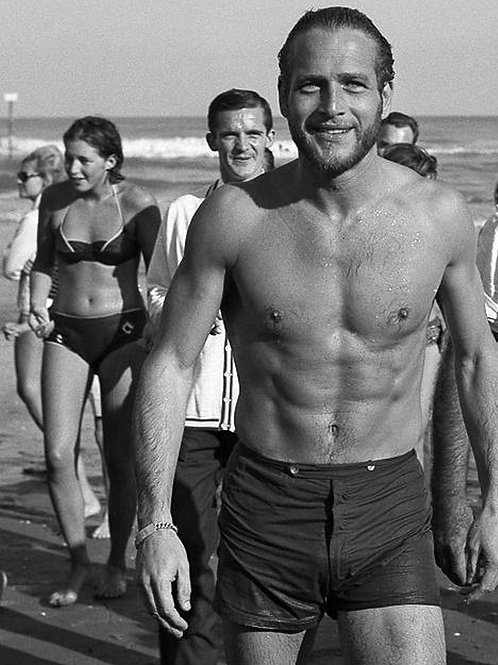 Young Paul Newman Bulging in a Wet Swimsuit