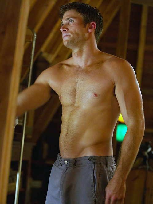 Shirtess Scott Eastwood in The Longest Ride