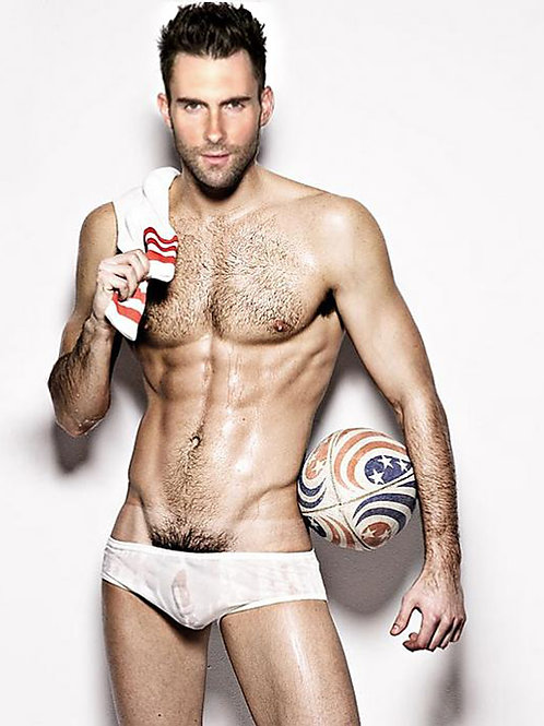 Shirtless Adam Levine Wearing Wet Briefs