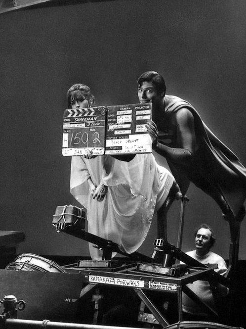 Christoper Reeve as Superman Flying Behind the Scenes