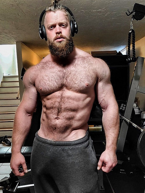 Bearded Man by his Weight Machine