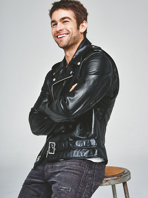 Chace Crawford Wearing a Leather Jacket