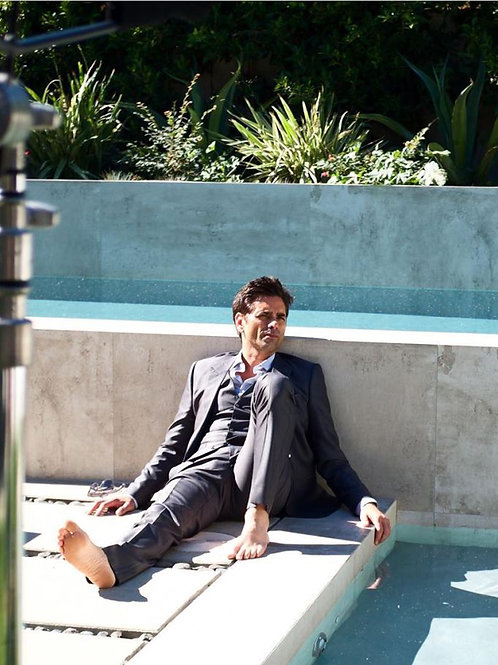 Handsome John Stamos by a Pool Bulging in his Suit Pants