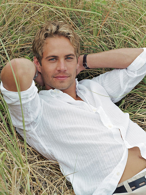 Handsome Paul Walker Laying on a Bale of Hay