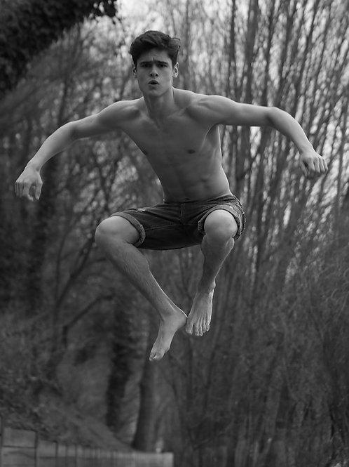 Agustin Bruno in Shorts Jumping
