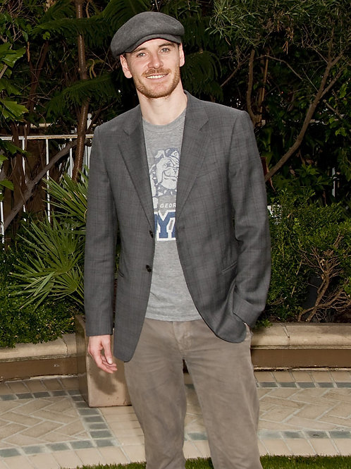 Bearded Michael Fassbender Bulging in his Grey Slacks