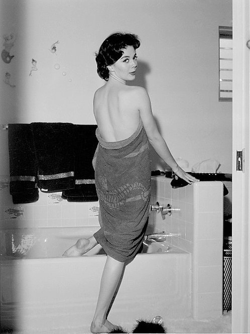 Natalie Wood Wrapped in a Towel as She Enters Her Bath in the 1950s