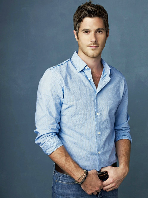Dave Annable Posing in Blue Shirt
