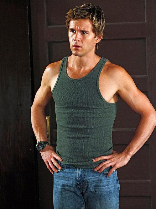 Ryan Kwanten Wearing a Green Tanktop & Jeans