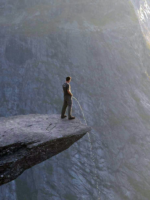Peeing off a HIGH Cliff