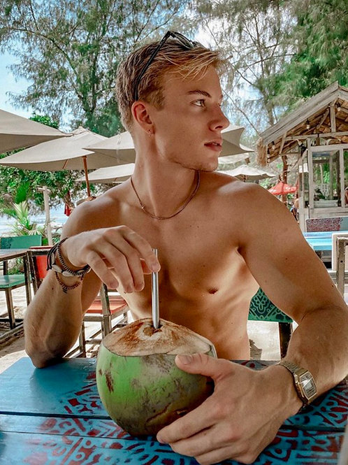 Mikael Renwall Enjoying a Tropical Drink