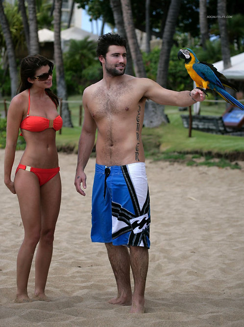 Brody Jenner Wearing Boardshorts with a Beautiful Girl