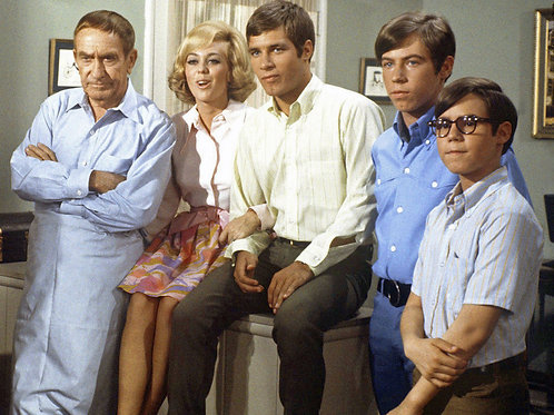 Cast of My Three Sons Posing on the Living Room Set