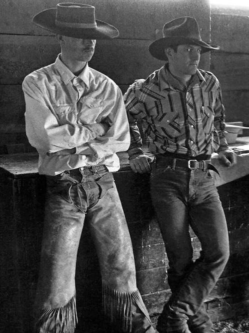 2 Black Hat Cowboys in the Barn