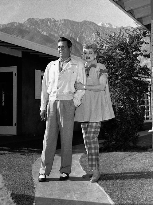 Lucy & Desi in the 1950's Standing Outside Thier Home