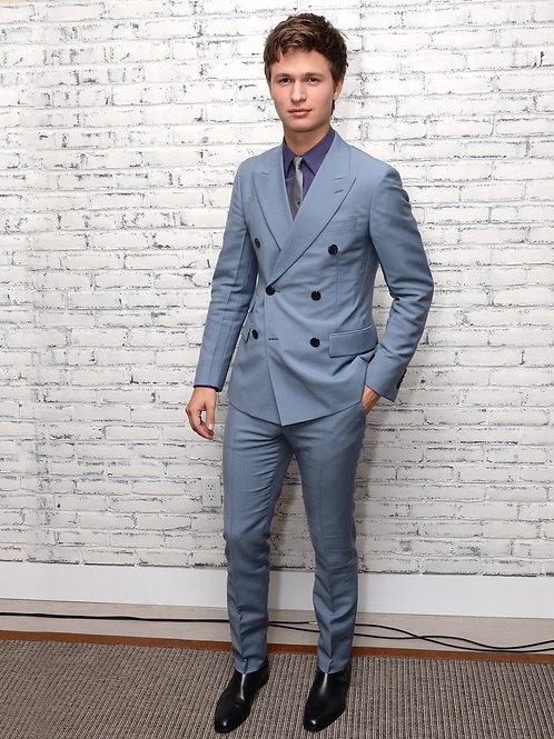 Ansel Elgort Wearing a Light Blue Suit