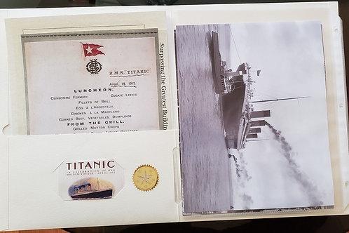 RMS Titanic Incredible 32 Piece Memorabilia Replica Package with 4 8x10 photos