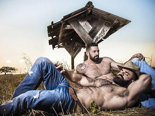 Bear Cowboys Relaxing Outdoors