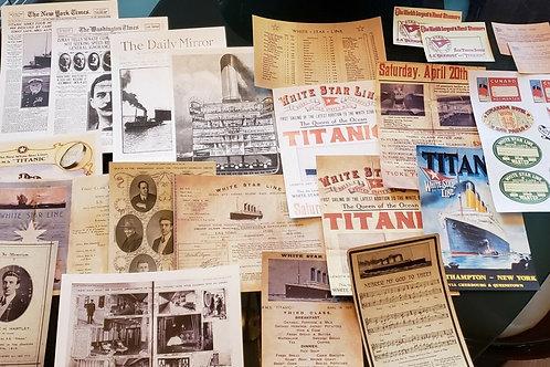 RMS Titanic 31 Piece Memorabilia Replica Collection with 3 8x10 photos