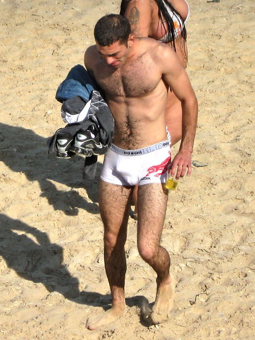 Bulging Boxer Briefs on the Beach