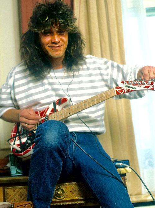 Eddie Van Halen Tuning his Guitar